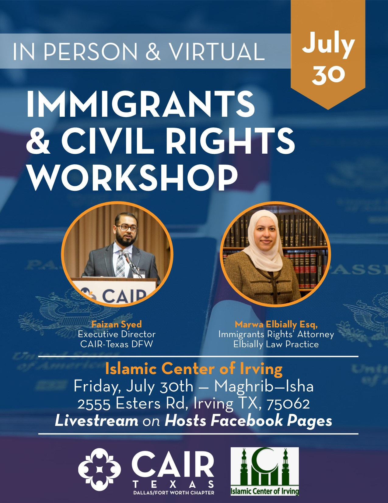 Immigration & Civil Rights Workshop at Islamic Center of Irving: July 30th
